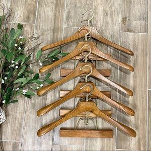 Vintage wooden suit hangers set of 5